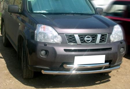 Nissan X-trail T31 2007-2010г.в.-Дуга передняя по низу бампера d-60 радиусная двойная